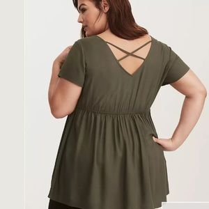 Torrid Green Twill Crossback Top Size 5X Tunic